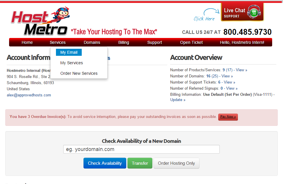 hostmetro dashboard